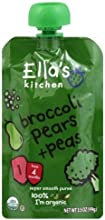 Ella39s Kitchen Organic Baby Food Broccoli Pears  Peas 4months 35-Ounce Pouches Pack of 7  Value Bul