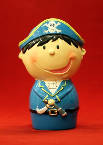 "5"" Whimsy Pirate Blue Hat Coin Piggy Bank - 1"