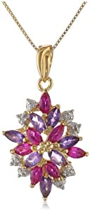 18k Yellow Gold Plated Sterling Silver Genuine African Amethyst, Created Red Ruby and Diamond Accent Drop Pendant Necklace, 18