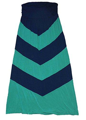 New Design History Womens Strapless Long Jersey Chevron Maxi Dress Navy Green Med