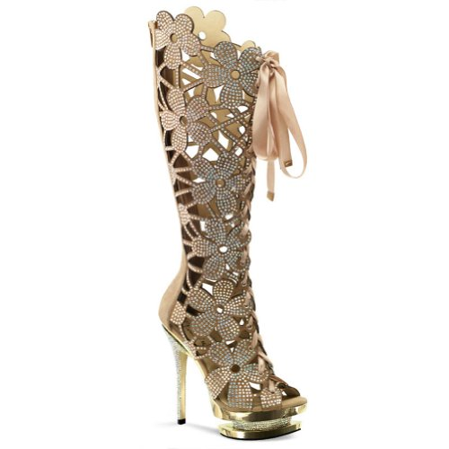 8ee495d82fb3 The Features 6 Inch Flower Cut Out Rhinestone Boots Women s Designer High  Heel Boots Size 10 -