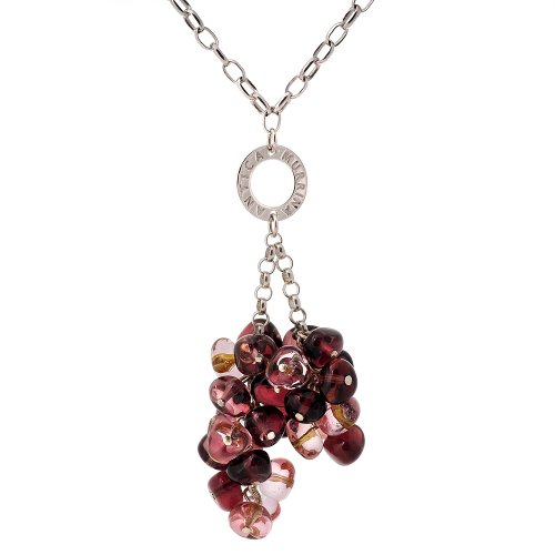 Sterling Silver Purple Murano Glass Drop Necklace, 18
