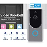 Smart Wireless WiFi Video Doorbell HD Security Camera with PIR Motion Detection Night Vision Two-Way Talk and Real-time Video Suitable etc … (Grey) (Video Door Bell) (Color: video door bell)