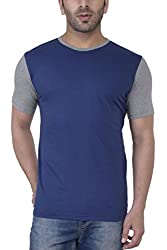 Upbeat Mens's Navy Blue Short Sleeve Round Neck Cotton Tshirt 2016 - Medium