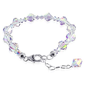"SCBR114 .925 Sterling Silver Clear AB Swarovski Crystals 7"" 7.5"" 8"" Length Adjustable Bracelet Lobster Clasp MADE WITH SWAROVSKI ELEMENTS"