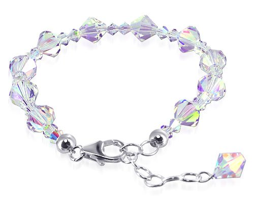 SCBR114 Sterling Silver Clear AB Crystal adjustable Bracelet 7 to 8 inch Made with Swarovski Elements