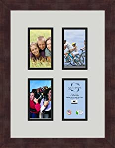 ArtToFrames 1.25-Inch Espresso Picture Frame with 4 Openings of 3 by 5-Inch and a Candlewick Top Mat and Black Bottom Mat