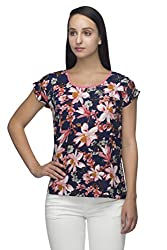 Indietoga Blue flower printed crepe casual top for girls