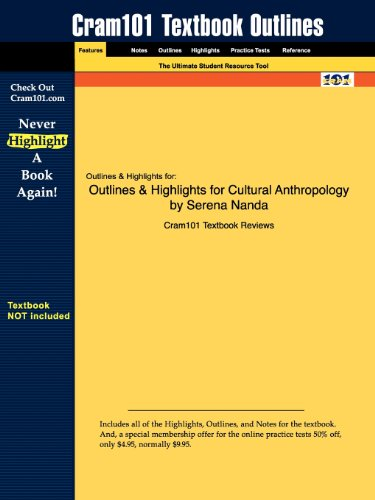 Studyguide for Cultural Anthropology by Serena Nanda, ISBN 9780534617066