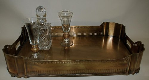 Pierced Gallery Ball Footed Tray (Brass Gallery Tray compare prices)