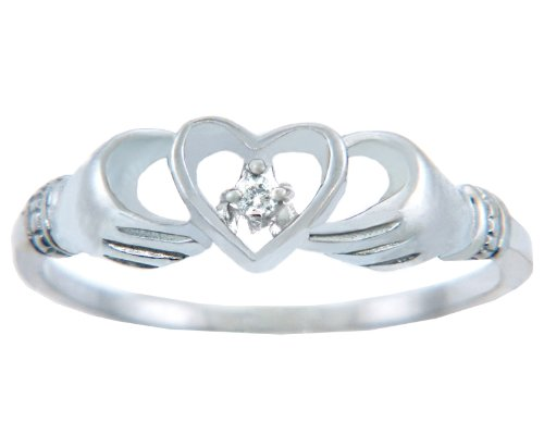 Ladies Rings - Gold Ring with Diamond in Heart (14K Gold, 15)