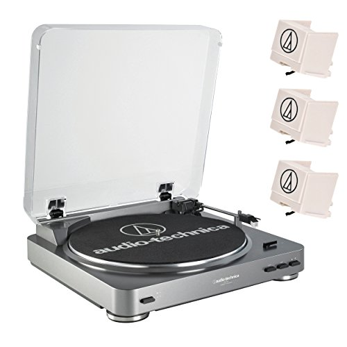 Audio-Technica-AT-LP60-Fully-Automatic-Turntable-Silver-w-3-ATN3600L-Replacement-Stylus