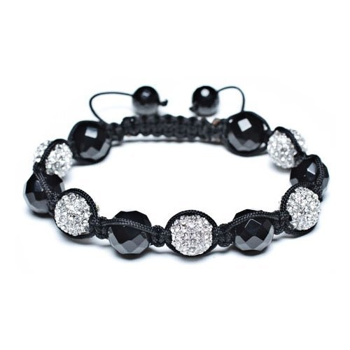 Bling Jewelry Shamballa Inspired Bracelet Crystal Balls Black Onyx Faceted Beads 12mm