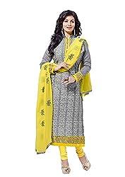 Blissta Gray Chanderi Embroidered Dress Material