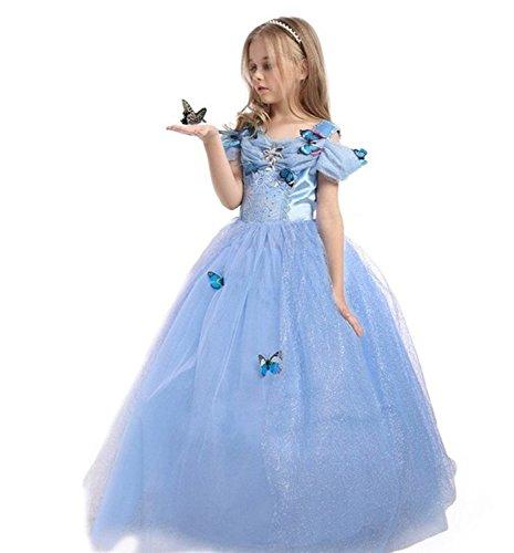 ELSA & ANNA® Ragazze Principessa abiti partito Vestito Costume IT-FBA-CNDR5 (IT-CNDR5, 5-6 Anni)