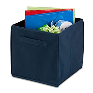 Honey-Can-Do International 4 Pack Non-Woven Foldable Cube- Navy