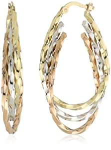 Duragold 14k Tri-Color Triple Oval Hoop Earrings, (1