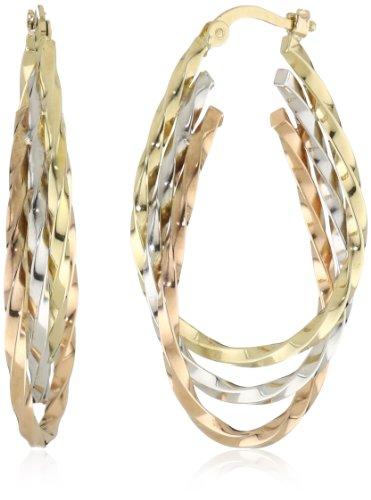 Duragold 14k Tri-Color Triple Oval Hoop Earrings,