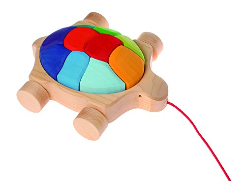 Grimm's Turtle Pull Along Toy with Waldorf Building Blocks, Rainbow Turtle (Multi Colors)