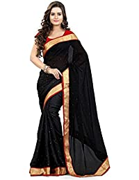 Mgm Creation Women's Georgette Saree With Blouse Piece (Mgm-Af-0309_Black)