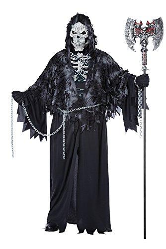 California Costumes Men's Plus-Size Evil Unchained Scary Ghost Demon Skeleton Grim Reaper Plus, Black, Plus Size
