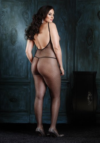 Plus Size Fishnet Body Stocking With V Back