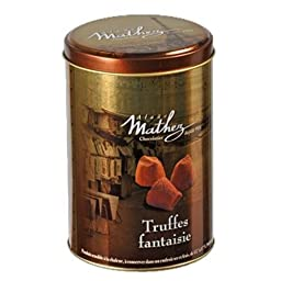 Alaüs Mathez Fancy Dusted Truffles, Plain, in gold-colored metal jar