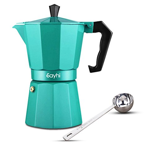 Espresso Maker, HOOHI 240 ML Aluminum Moka Express Stovetop Espresso Maker Pot Coffee Machine + 1 Coffee Scoop, 4 Cup (Green)