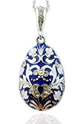 Fine Jewelry Blue Russian Egg Pendant Silver Enameled 1 1/2 Inch