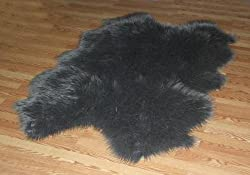 Faux Sheepskin Fur Pelt 4' x 6' (GREY)