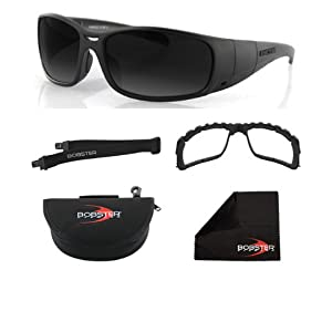 Bobster Ambush 2 Convertible Sunglasses,Black Frame/Smoke & Clear Lens,One Size-AMBUSH CONVERTIBLE, 2 FRAME FRONTS (SMK & CLR), Z87