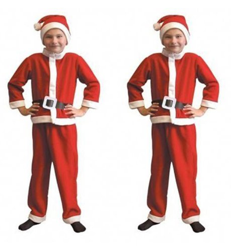 2 x Childrens Santa Suits - Boys & Girls Father Christmas Fancy Dress Party Costume - One Size
