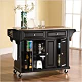 Crosley Furniture Stainless Steel Top Kitchen Cart in Black Finish