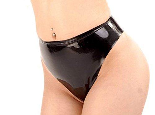 EXLATEX Womens Latex Rubber Middle Waist Brief Short Fetish Lingerie (Medium, Black)