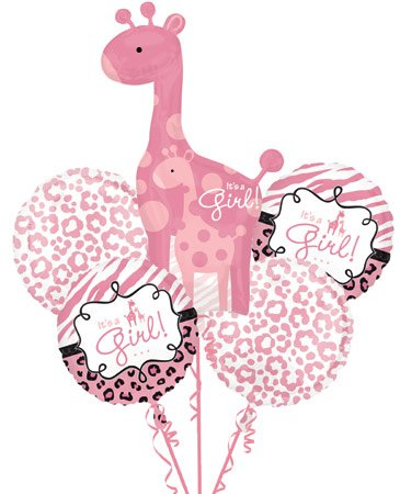 Sweet Safari Baby Girl 5 Balloon Bouquet Kit W/Ribbons - Baby Shower front-1055413