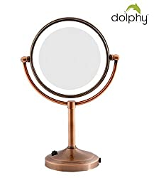 Dolphy Copper 5x Magnification LED Tabletop Shaving & Makeup Vanity Mirror - 8 Inch