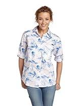 Columbia Super Bonehead Long Sleeve Shirt, Medium, Vivid Blue, Key West Toile Prt
