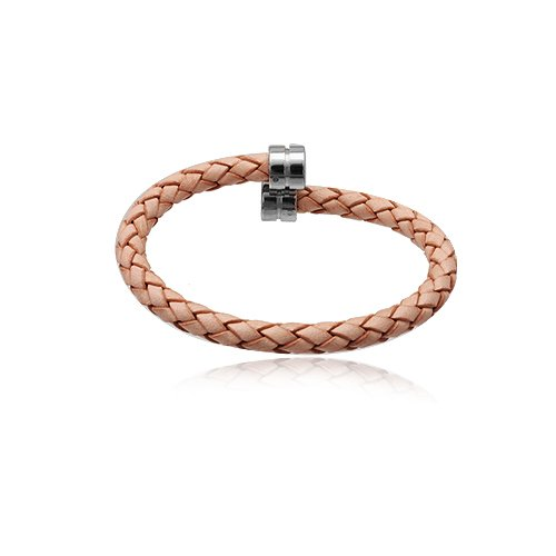Stainless Steel Brown Leather Man Bracelet 21cm