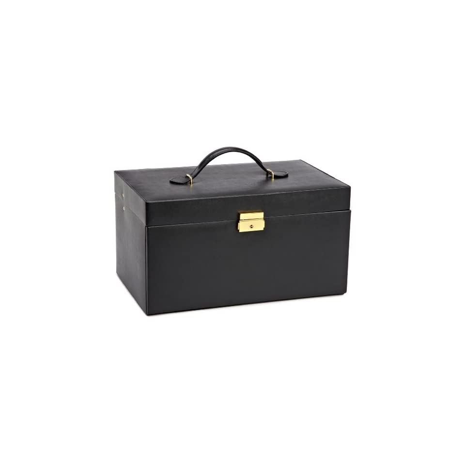 280202 Heritage Black Large Jewelry Case with Six Drawers Jewelry Box