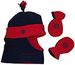 N\'Ice Caps Boys Wrap Around Hat and Mitten Set with Embroidery (6-15 Months, Infant - Navy/Red)