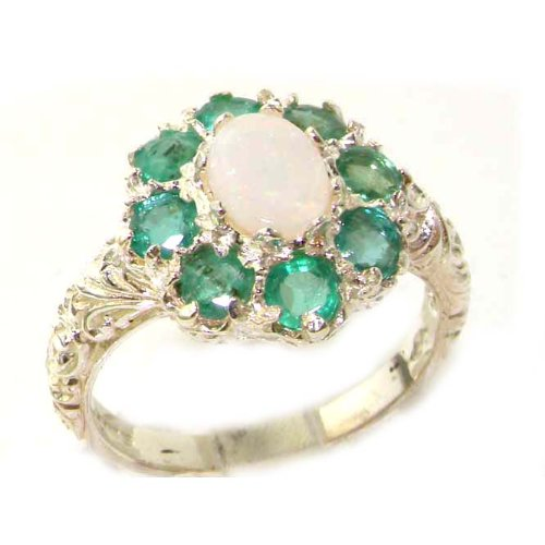 Solid English Sterling Silver Womens Large Opal & Emerald Art Nouveau Ring - Size 12 - Finger Sizes 5 to 12 Available - Suitable as an Anniversary ring, Engagement ring, Eternity ring, or Promise ring