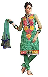 Pehnava Turquoise Net Embroidered Suit