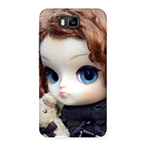 Premium Hugging Teddy Doll Multicolor Back Case Cover for Honor Bee