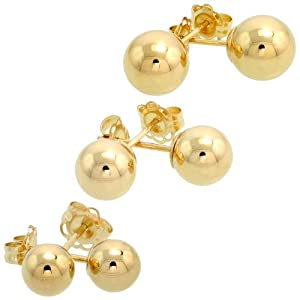 3-Pair 10k Gold Ball Earrings Set 5mm 6mm 7mm