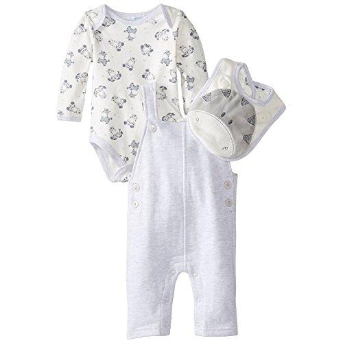 Vitamins Baby Baby-Boys Newborn Plush Zebra 4 Piece Fleece Overall Set, Grey, 9 Months