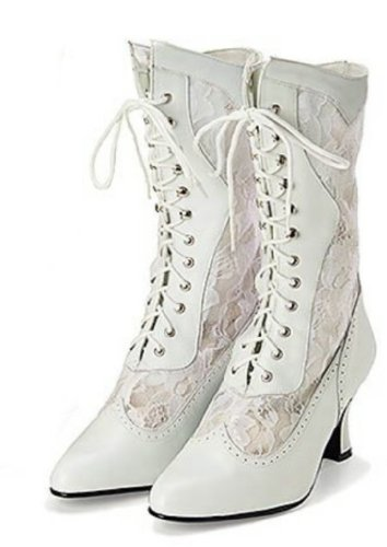 Victorian Leather and Lace Wedding Boot 8.5 M Whit