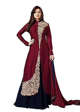 Tagline Women's Brown & Blue Banglori Silk Indo Western Style Semi Stitched Salwar Suit