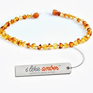 Amber Necklace - Baby Child size 31-33 cm - 100% Genuine Baltic Amber Beads - Top Quality on Amazon + Free Organza Gift Bag - Soothes & Calms Teething pain Naturally 2LH.P-BRQ31.5