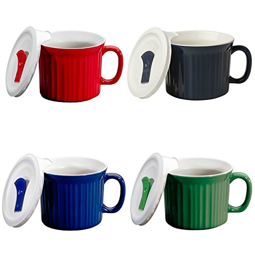 CorningWare Pop in mug, 4 mugs with vented plastic covers (Bake, Microwave) 20 oz/591ml (Corningware Mug With Vented Cover compare prices)