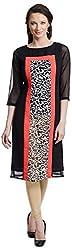Chandigarh Fashion Mall Women's Georgette Regular Fit Kurta (Cfm.1053_S, Black, S)